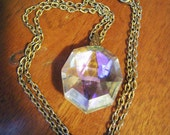 Beautiful Vintage Iridescent Rainbow Crystal Pendant on Gold Chain