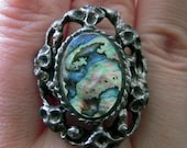 Vintage Big Chunky Abalone Shell Costume Ring, Dark Silver, Unique