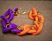 Golden Twist Bracelet in Orange/Hot Purple: Acrylic and Gold Chain Link