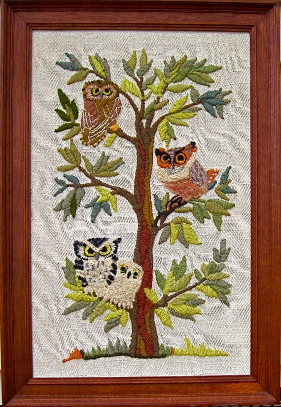 1970s Vintage crewel-embroidered wall hanging  Owls in the tree