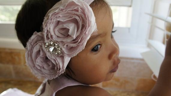 Large Pink Shabby Chiffon Flower Headband With A Rhinestone Button, Baby Girl Headband, Girl Headband, Newborn Headband, Wedding