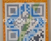 Blue Square QR Code Art Painting