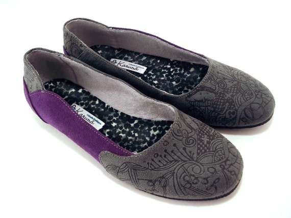 Vegan Shoes - Handmade Ballet Flats - Size EU 36 to EU 44 - Purple and Gray - Hand Printed Illustration - Recycled Tire Soles