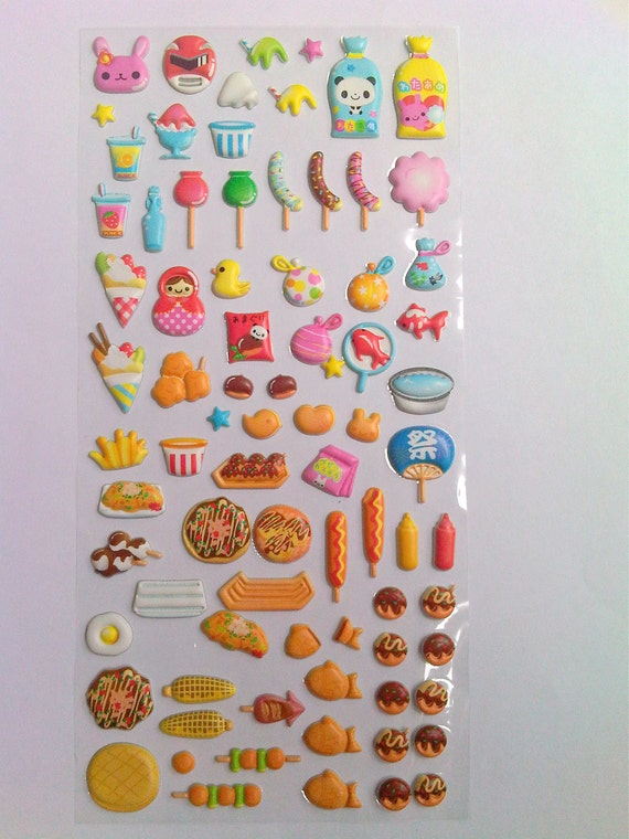 Cute Japanese Puffy Stickers - Colorful & Fanciful Delicacies from Mind Wave Inc.
