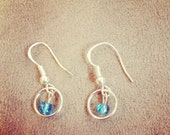Silver Hooped and Blue Beaded Earrings
