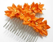 Orange Blossom Lily Set of Two Flower Hair Combs - Spring Wedding