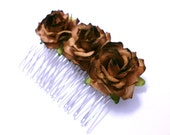 Rustic Autumn Rose Hair Comb Set of Two Flower Fascinator