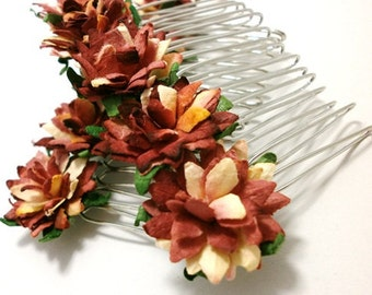 Autumn/ Fall Shades/ Golden Red/ Floral Hair Comb/ Rustic/ Traditional/ Bridal/ Wedding Hair Accessories/ Bridesmaid Hair Fascinator