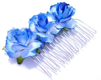 Tickled Blue Floral Rose Hair Comb/ Striking/ Alternative/ Bridal/ Wedding Hair Accessories/ Bridesmaid Hair Fascinator