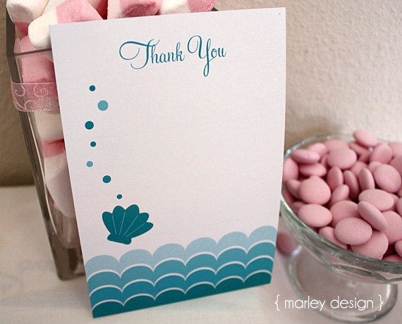 Instant Download Printable Mermaid Birthday Party Thank You Card Digital PDF Under The Sea