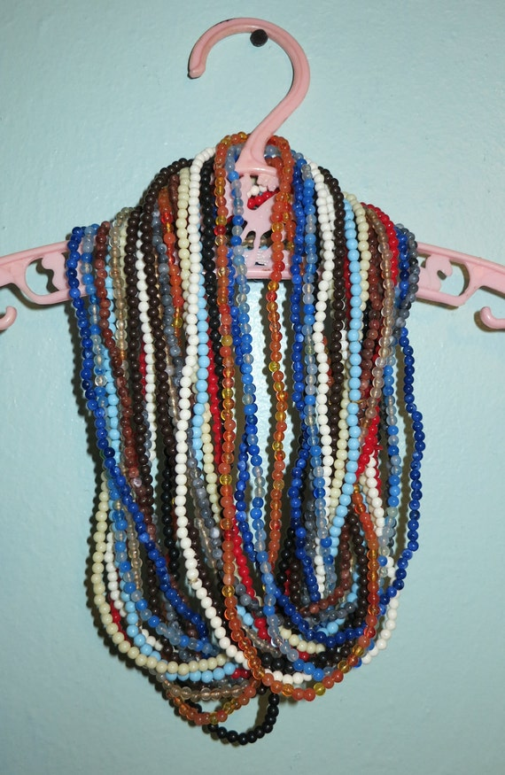 RESERVED // Lot of a dozen vintage bead necklaces, multiple colors