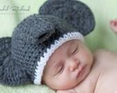PATTERN crochet Elephant Hat Pattern 6 sizes Newborn-Adult