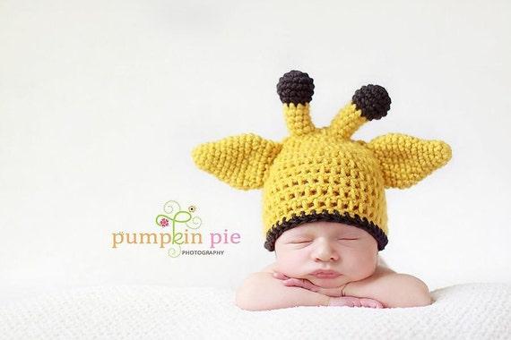 PATTERN crochet Baby Giraffe Hat Pattern 3 sizes Newborn to 12 months