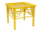 Two Worlds Arts Sunshine Yellow Bamboo Cocktail Table with Chinoiserie scenes - twoworldsarts
