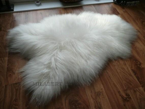 Genuine Rare Icelandic Sheepskin Rug - Soft Silky Long Wool - Natural Creamy White
