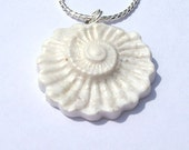 Pearlescent White Fossil Ammonite Necklace