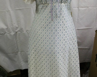 1970's blue and white maxi dress