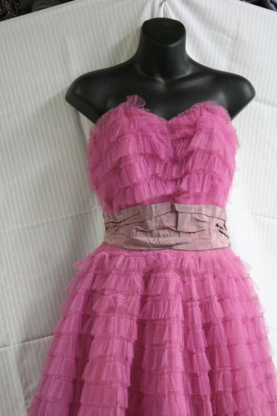 Raspberry 1950's Party/Prom Dress Size 2
