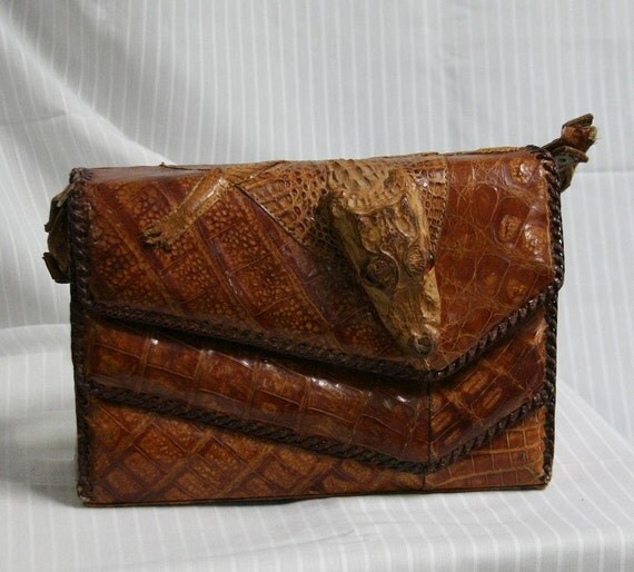 1950s Taxidermied Baby Alligator purse