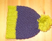 Purple and green knit hat with pompom