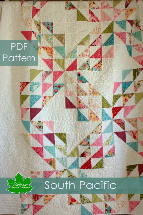 PDF Quilt Pattern - South Pacific - big and bold new version of the Ocean Waves pattern made with charm packs