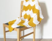 Chevron Throw Blanket--Mustard Yellow and White Zig Zag Afghan MADE TO ORDER