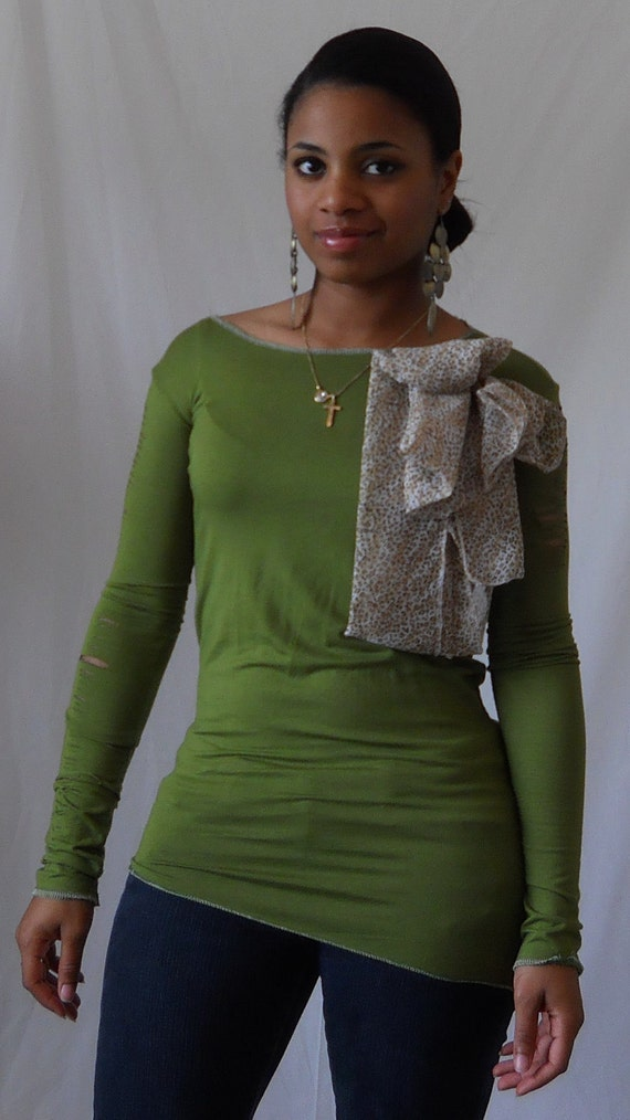 Olive Green Long Sleeve Jersey Knit Shirt with Chiffon Leopard Applique' and Cuts along Sleeves XS/S/M