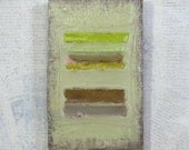 small abstract landscape - Chicken Coop - original fine art -  green brown wax stripes - abstract landscape painting