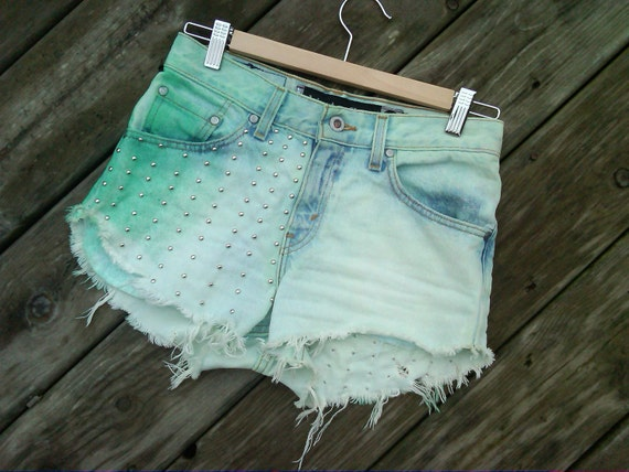 IGV Mint Green High Rise Shorts With Studs and Doily Acccent
