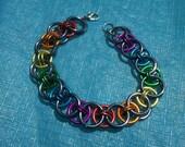 Black Ice & Rainbow Pride Helm Chainmail Bracelet