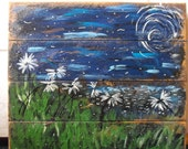 Daisies at Night: a primitive acrylic painting on distressed wood paneling