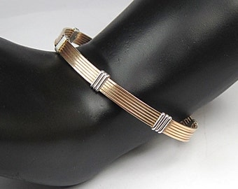 Wire Wrap Bracelet, Sterling and Gold filled, two-tone