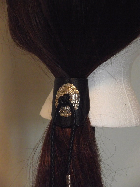 Vintage Country Western Designed Black Leather Pony Tail Holder