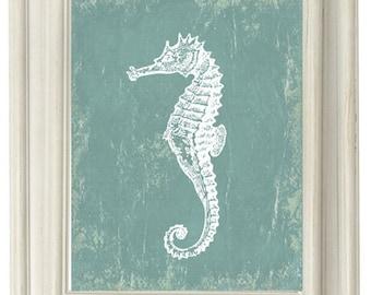 Digital Download, Grungy Blue Seahorse  Modern Art Print