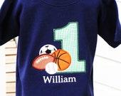 Boys Personalized Appliqued All Sports Shirt - Navy - Boys Birthday Shirts