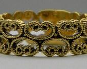 Vintage Gold Filigree Band - Size 8 3/4