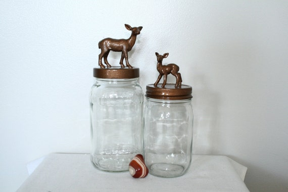 Recycled Glass Doe and Fawn Jars