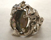 40% off SALE Antique Sterling Silver Abalone Ring Signed Cyvra