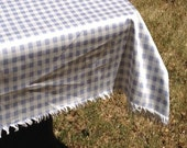 "Lilac 52x70"" Gingham Like Check, Farmhouse Style, Cotton Tablecloth, Linens,"