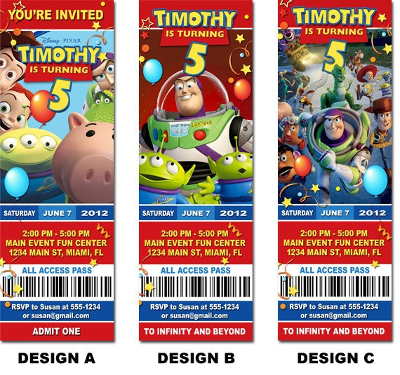 Toy story birthday ticket invitation printable toy story for Toy story invites templates free