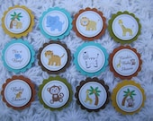 Jungle, Safari 12 Cupcake Toppers or Party Favor Tags, Baby Shower, Handmade, 3D