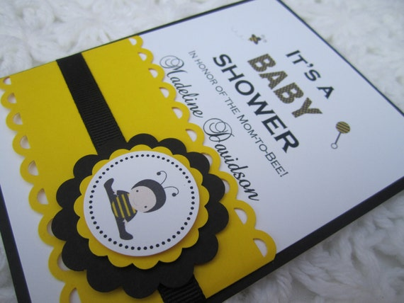items similar to bee baby shower invitations ba bee bumble bee