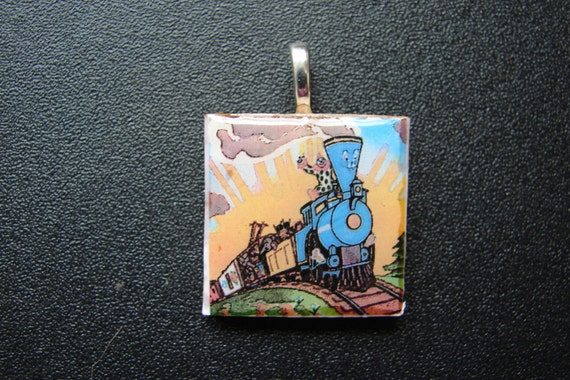 Little Engine That Could 1 Inch Square Pendant, Key Chain or Magnet