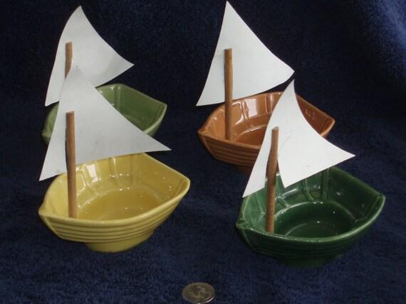 Vintage Cardinal China Shrimp Boat Dishes -- Set of 4