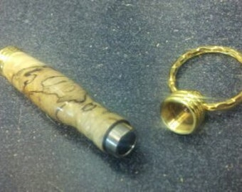 Hand Turned Custom Spalted Pecan Secret compartment Key ring- Holds Toothpicks- Hide Cash or Pills