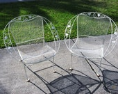 Pair of 1950s Vintage Woodard Wrought Iron Hoop Chairs Ivy Pattern