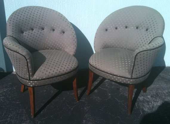 1940s Vintage Pair of Assymetrical Opposing Art Deco Upholstered Chairs Hollywood Glam
