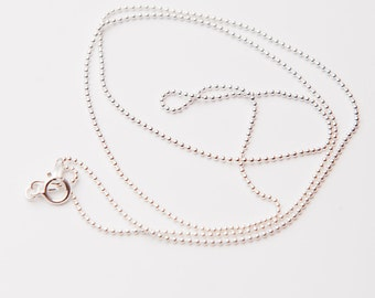 "20"" Sterling Silver 1 mm Beaded Chain, Bead Ball Chain, Sterling Silver Necklace Chains, Sterling Silver Necklace"