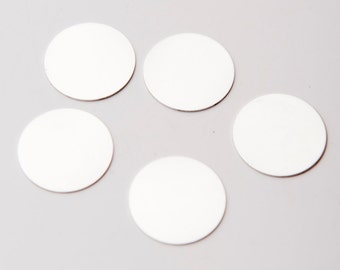 """7/8"""" Sterling Silver Stamping Blanks, Set of 5 Blank Charms, Lot of 5, Sterling Silver Stamping Blanks Discs"""