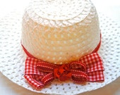 SALE - White Girl Sun Hat with Red and White Gingham Double Bow